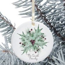 Personalised Family Ceramic Christmas Tree Decoration - Holly Bouquet Design